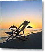 Beach Chair At Sunrise Metal Print
