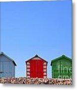 Beach Huts And Blue Sky Metal Print