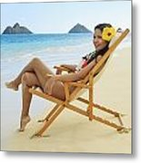 Beach Lounger Metal Print by Tomas del Amo