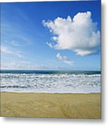 Beach, Ocean, Sky, And Clouds Metal Print