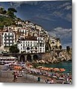 Beach Scene In Amalfi On The Amalfi Coast In Italy Metal Print