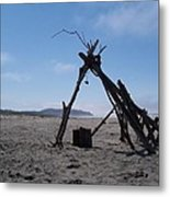 Beach Shelter Skeleton Metal Print