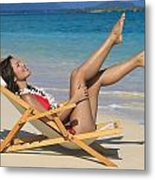 Beach Stretching II Metal Print