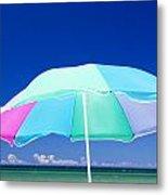 Beach Umbrella At The Shore Metal Print