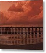 Beachcombing At Oceanside Pier Metal Print