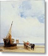 Beached Vessels And A Wagon Near Trouville Metal Print by Richard Parkes Bonington
