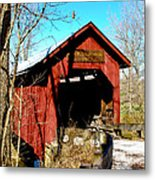 Bean Blossom Bridge Metal Print by Beverly Cazzell