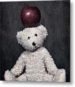 Bear And Apple Metal Print