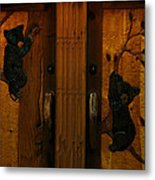 Bear Doors Carved Metal Print