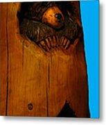 Bear In Log Metal Print