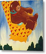 Bear Loved Flying Over The Forest In His Favorite Chair Metal Print