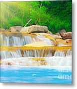 Beautiful Cascade Fall In Tropical Forest Metal Print