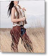 Beautiful Cowgirl Metal Print by Cindy Singleton