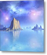 Beautiful Night Scene Of The Ocean Metal Print