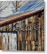 Beautiful Old Barn With Horns Metal Print