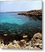 Beautiful View On Mediterranean Sea Cape Gkreko In Cyprus Metal Print