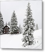 Beautiful Winter Landscape With Trees And House Metal Print
