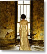 Beautiful Woman In Lace Gown In Abandoned Room Metal Print