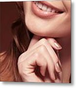 Beautiful Young Smiling Woman Mouth Metal Print by Oleksiy Maksymenko