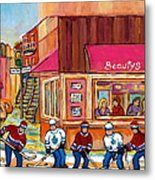 Beauty's Restaurant-montreal Street Scene Painting-hockey Game-hockeyart Metal Print