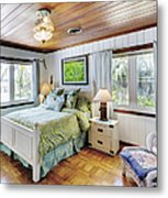 Bedroom With A Wood Ceiling Metal Print