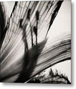 Behind The Petals Black And White Metal Print