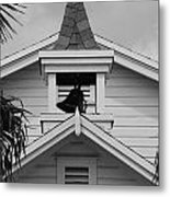 Bell Tower In Black And White Metal Print