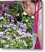 Belle In The Garden Metal Print