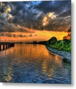Sunset At Belle Isle Pier Detroit Mi Metal Print