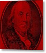 Ben Franklin In Red Metal Print