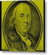 Ben Franklin In Yellow Metal Print