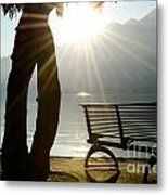 Bench And A Tree Metal Print