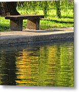 Bench And Reflections In Tower Grove Park Metal Print