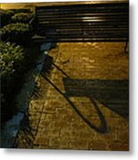 Bench And Shadow Metal Print