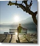 Bench And Sunset Metal Print