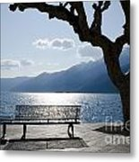 Bench And Tree On An Alpine Lake Metal Print