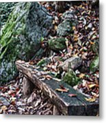 Bench Beside The Trail To Cascade Falls Metal Print