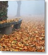 Bench In The Fog Metal Print