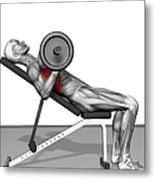 Bench Press Incline (part 2 Of 2) Metal Print