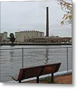 Bench With Industrial View Metal Print