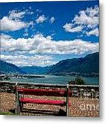 Bench With Panorama View Metal Print