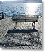 Bench With Shadow Metal Print