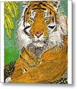 Bengal Tiger With Green Eyes Metal Print