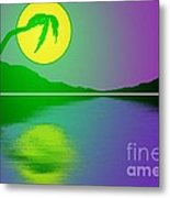 Bent Palm Sunrise Metal Print