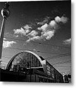 berliner fernsehturm Berlin TV tower symbol of east berlin and the Alexanderplatz railway station Metal Print by Joe Fox