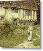 Beside The Old Church Gate Farm Smarden Kent Metal Print