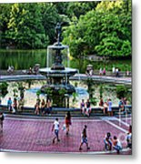 Bethesda Fountain Overlooking Central Park Pond Metal Print