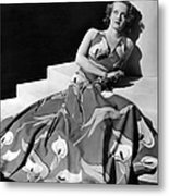 Bette Davis Wearing Gown With Calla Metal Print