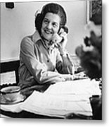 Betty Ford Works At Her Desk Situated Metal Print