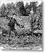 Bewick: Boy With Dogs Metal Print